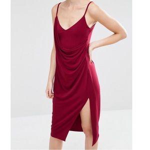 NWT ASOS | Red Crepe Wrap Midi Slip Dress | 4
